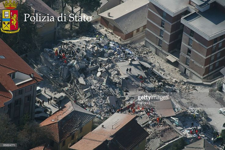 L'AQUILA, ITALY - APRIL 06: In this handout image provided by the Police Press Office, an aerial view of the damage caused by the earthquake is seen on April 6, 2009 in L'Aquila, Italy. The 6.3 magnitude earthquake tore through central Italy, devastating historic mountain towns, killing at least 90 people and injuring 1500.