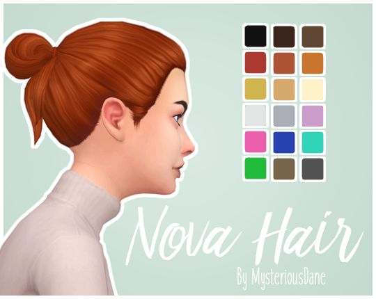 "mysteriousdane: "" Nova Hair Sooo this is a first. I thought I'd finally give hair making a proper try with a simple edit of two hairs to make this! I love the bun from the new C&D hair because it's..."