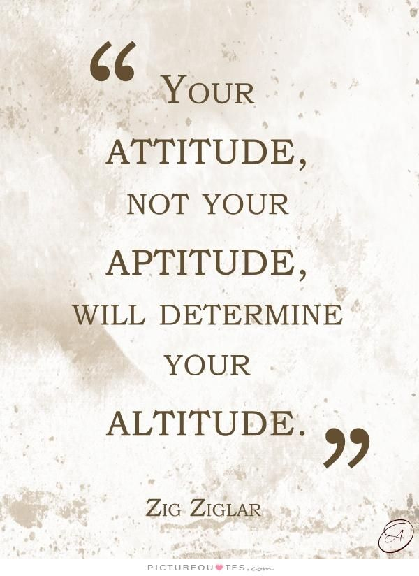 Your Attitude, Not Your Aptitude, Will Determine Your Altitude. Picture  Quotes.