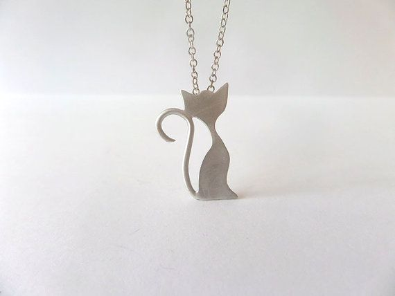 Cat Necklace, Silver cat necklace, valentines gift,  Girl Kids, Teen,  Mom,  Women, Jewelry Pendant on Etsy, 90.91 ₪