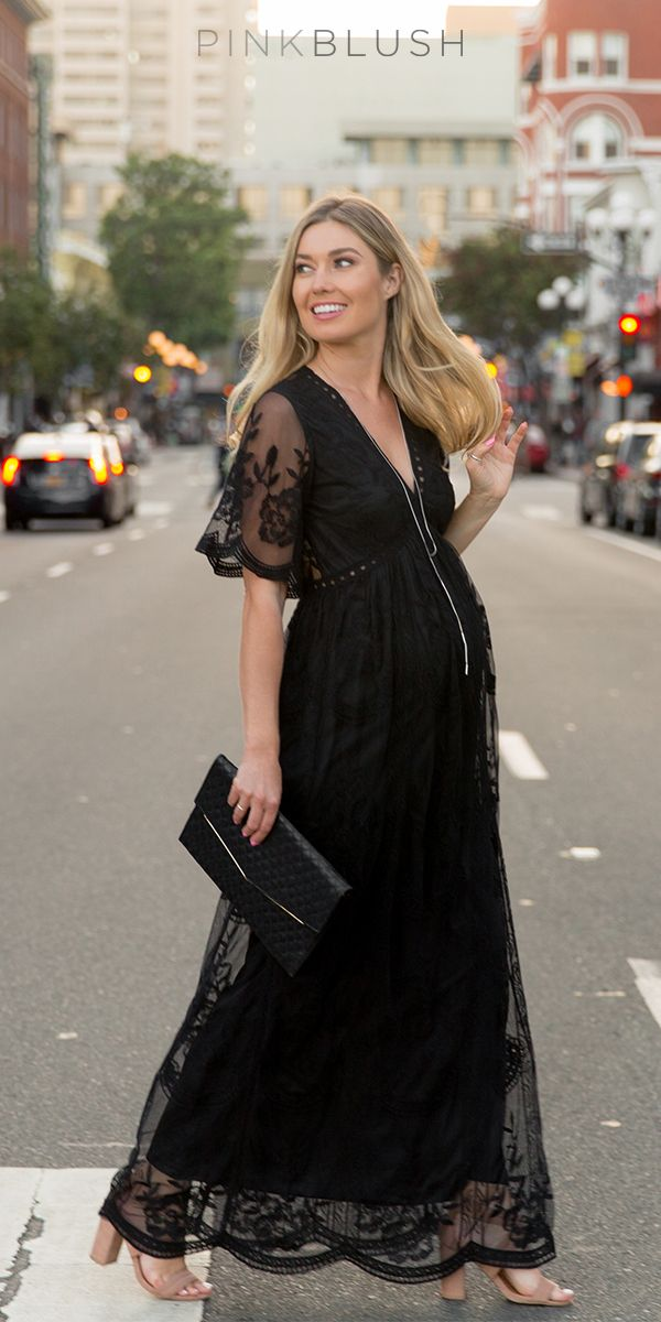 This flattering feminine silhouette is perfect for any occasion and will show off your bump perfectly. The mesh lace overlay is elegant and also makes this dress delicate and beautiful. You'll look gorgeous in this maternity maxi dress paired with heels and a simple statement necklace for a stylish look.