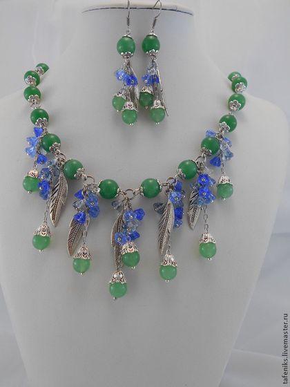 """Комплект """"Возрождение надежды"""". - зелёный,синий,голубой,весна,нефрит"""