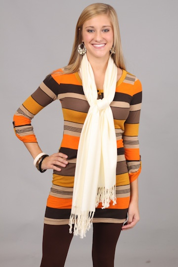 IF YOU PLEASE TUNIC, ORANGE...This tunic is SOO comfy and SOO easy to wear!! We love the stripes this tunic features and the fact that you can just throw this on with leggings and head out the door:)) The warm color combo puts the cherry on top of this already awesome piece!