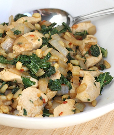 Chicken, Sweet Onion, Kale and Wheat Berry Salad