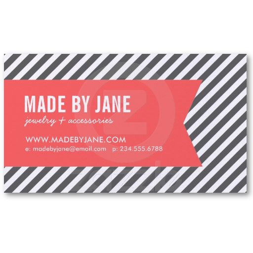 http://www.zazzle.com/charcoal_gray_coral_modern_stripes_ribbon_business_card-240835126860736277