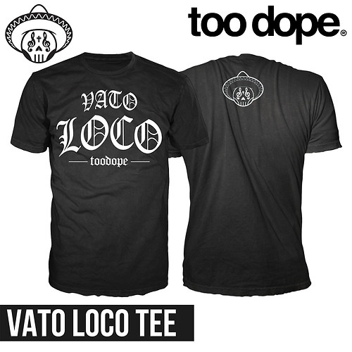 The Vato Loco tee symbolizes how no sane person can handle the dangers and obstacles you have to face in the streets. You must not have fears, because without those fears, there are no limits.  The Old English font is a popular font in street sub-cultures, such as low-riders, cholos, and vatos locos.  Follow us on instagram: @toodopebrand  Like us on facebook: www.facebook.com/toodopebrand