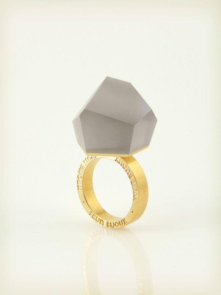 Fruit Bijoux, VU, gold ring, ash grey. To download high or low resolution product images view Mondrianista.com (editorial use only).