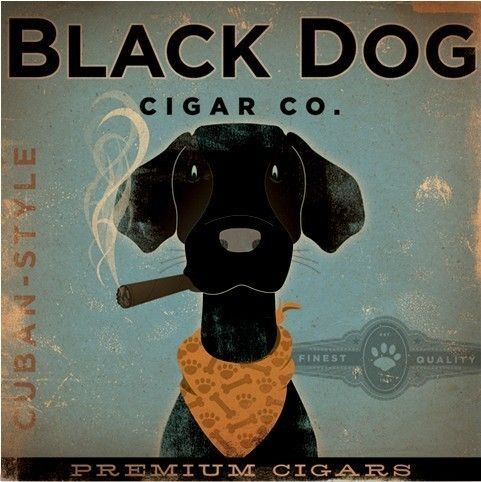 BLACK DOG CIGAR company advertising style artwork by geministudio, $80.00