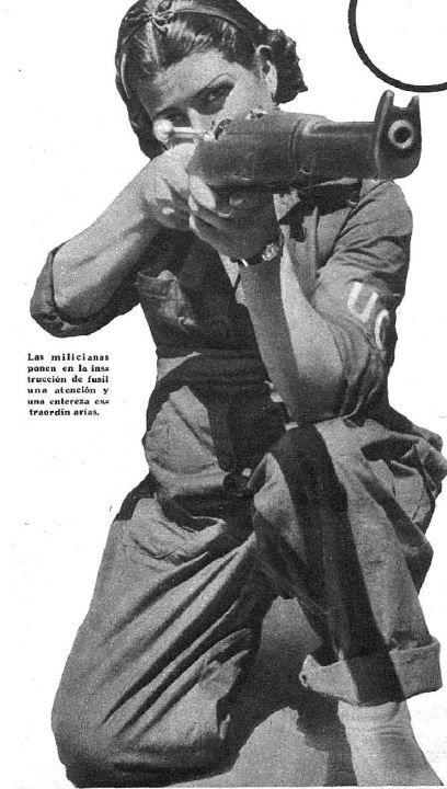 Mujer con arma, Estampa, 26 de septiembre 1936; Woman with a weapon, Spanish Civil War