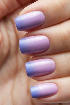 Thermo-Nagellack-lila-blau-Ombre-Maniküre