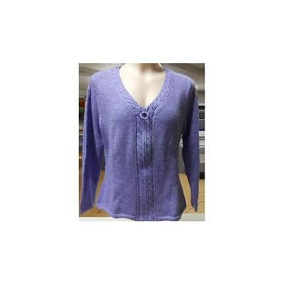 Women's Zip Up Cable Knit Cardigan, Purple, Large Echoes