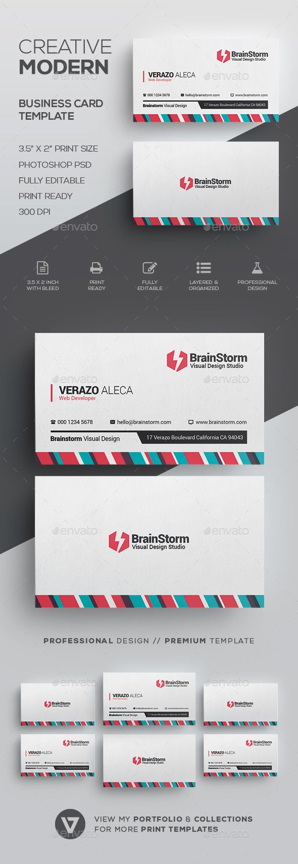 Clean Creative Business Card Template by verazo Need more high quality business card? View my Business Card Templates Collection OR Save Money! Buy Business Card Bundle for only