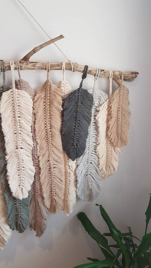 Feather Wall Macrame Hanging In 2021 Feather Diy Yarn Wall Art Feather Wall