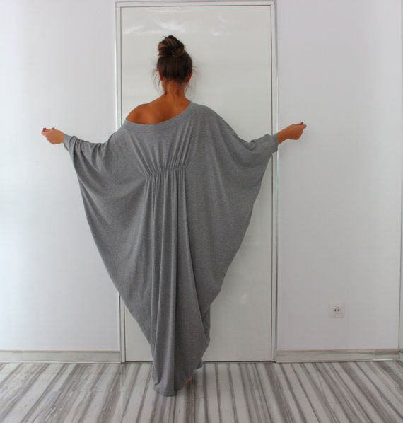 Long Grey Maxi Dress, Abaya Dress, Cotton Knit Cocoon Dress, Plus ...