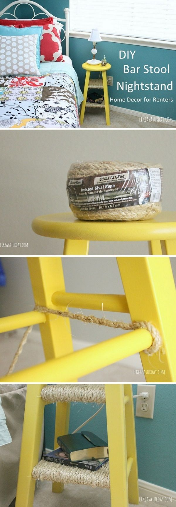 Check out this easy idea on how to make a #DIY bar stool nightstand #homedecor for #renters #project #budget @istandarddesign