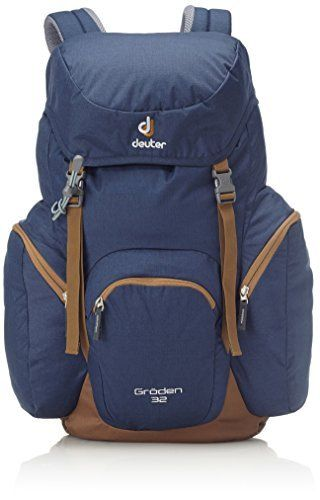 Deuter Groeden 32 Backpack - Midnight/Lion. Aircomfort System. Hip belt with ventilation pads (Zugspitze); padded hip fins (Groden). Anatomically shaped, soft edged shoulder straps. Double lid buckles, which allow extra gear to be securely stored under the lid. Spacious bellow side pockets and roomy front pocket for extra volume.