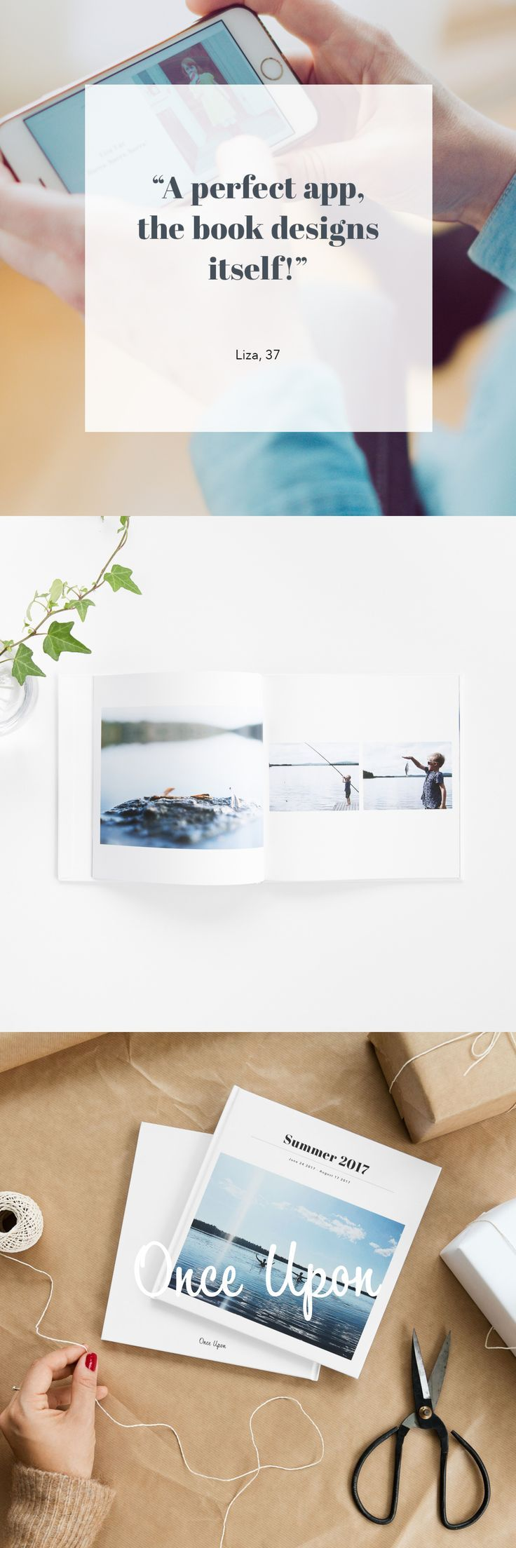 Once Upon app makes it easy to create designed photo books. Our books come in two different sizes with hard or soft cover. Scandinavian design, printed in Sweden. #MadeInSweden