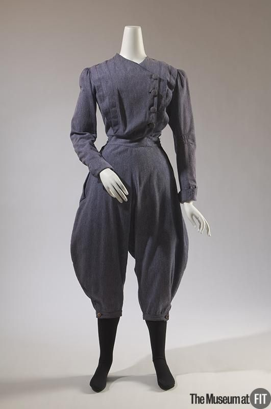 "1896 American Gym suit at the Museum at FIT, New York - From the curators' comments: ""Women of the late nineteenth century often wore garments with full ""bloomer"" trousers for gym exercise or calisthenics, which was part of the curriculum at many women's educational institutions. In 1895, writer C.H. Crandall advised that ""men do not object in the least"" to gym styles, ""so long as the touch of femininity, of modesty, is never lost."""""