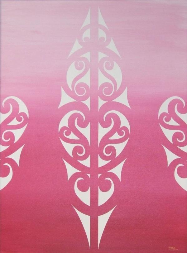 White maori design on Pink background.