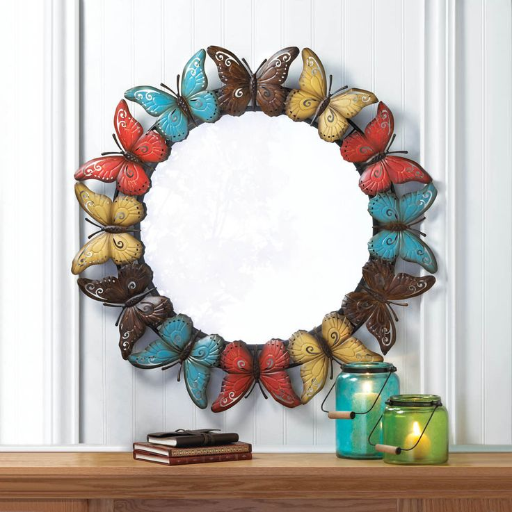 Butterfly Wall Mirror Hanging Circle Multicolor Iron 36 Inches Tall New  #Unbranded #Country