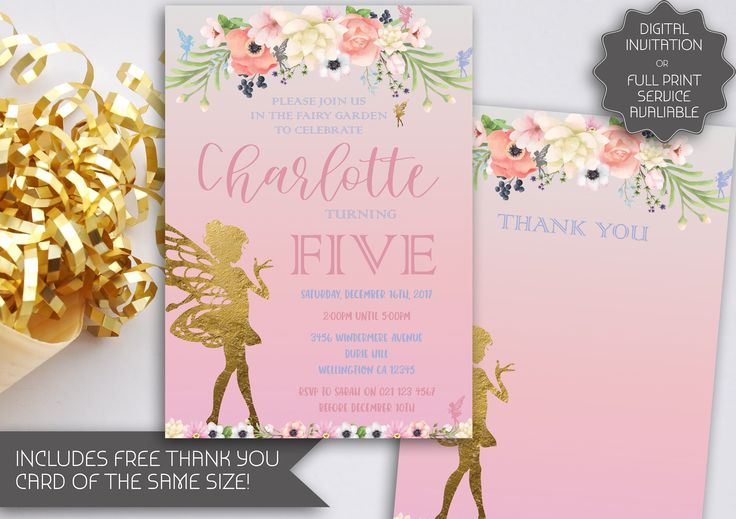 Pink Fairy Garden Party Birthday Invitation | Fairy Party | Tinkerbell Invitation | Garden Fairy Party | Fairy Printable Invitation (031) by kellylouisedesigns on Etsy