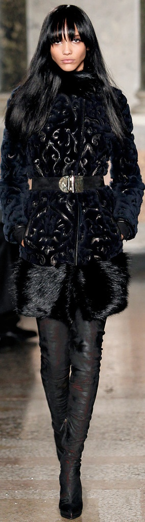 Emilio Pucci F/W 2013-2014-  Yes to the fur! This dramatic look could be seen in the 20'. A statement is definitely being made with this jacket.  3/25/15: