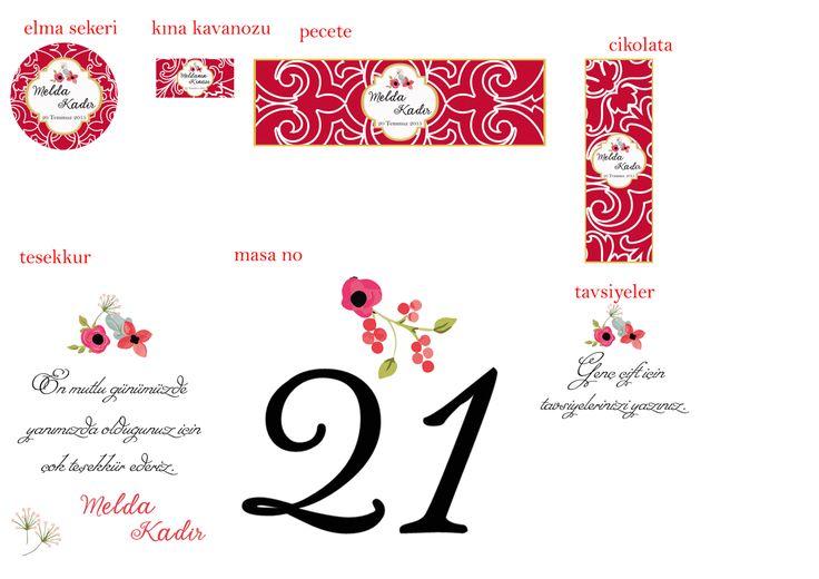 kırmızı ve çiçek temali kina organizasyonu-elma şekeri etiketi,kina kavanozu etiketi,peçete halkası,çikolata etiketi,masa numaraları,tesekkur ve tavsiye kartları