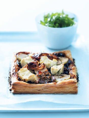 Caramalised onion and feta tart