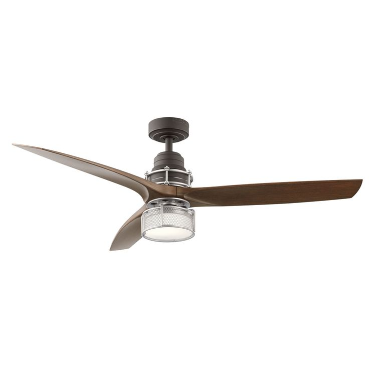 Shop Kichler Lighting 54-in Satin Natural Bronze with Brushed Nickel Accents Downrod Mount Indoor Residential Ceiling Fan Integrated Included Remote Control Included (3-Blade) at Lowes.com