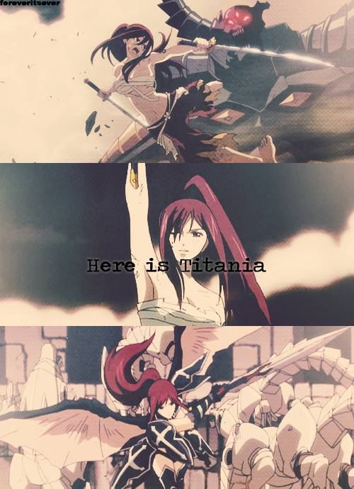 "Titania Erza Scarlet ""While covered in wounds, a fairy that should of fallen danced"" -Awesome pics of erza"
