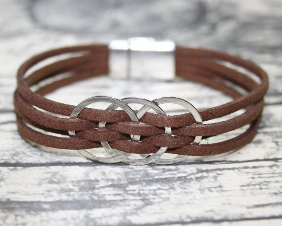 Multi Strand Bracelet for Women, Brown genuine leather bracelet with stainless steel rings and magnetic closure.  Handmade genuine leather.