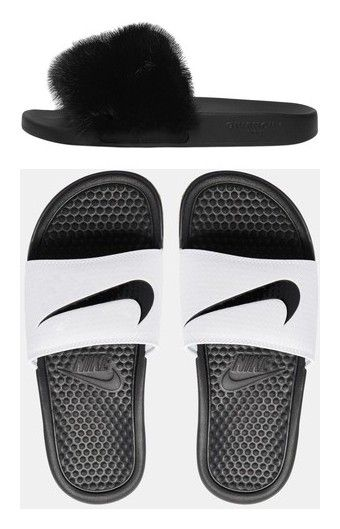 """Princess Slides"" by lovetayla ❤ liked on Polyvore featuring shoes, sandals, black, givenchy, slide sandals, givenchy sandals, kohl shoes, black slide sandals, nike and nike footwear"