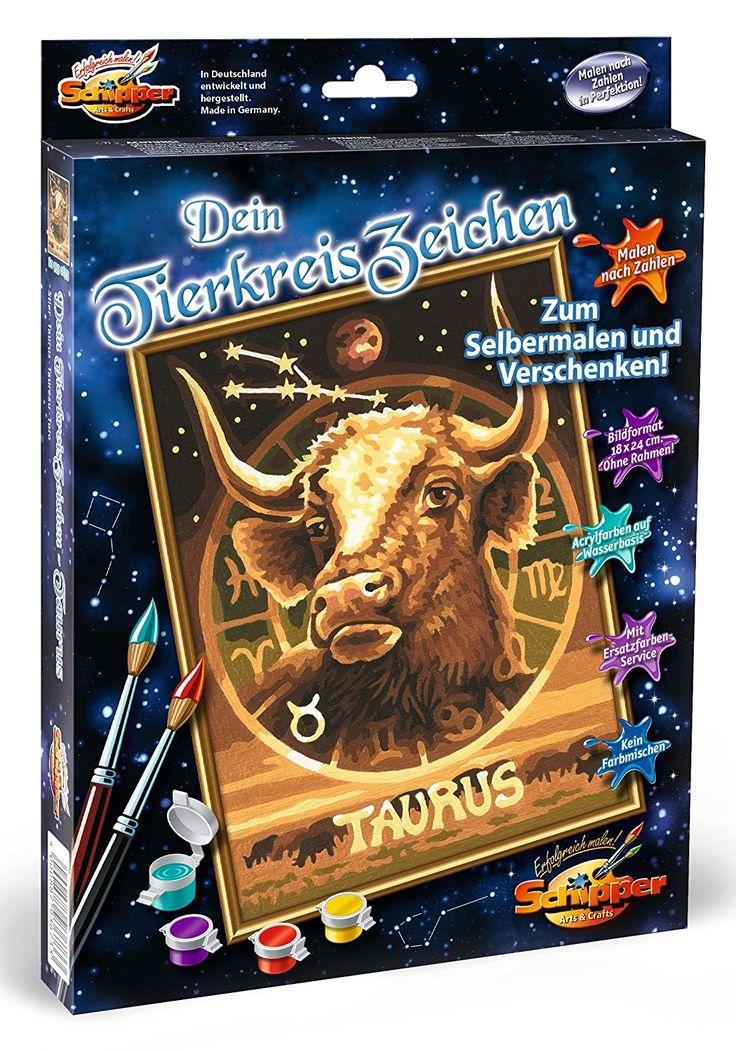 Schipper 609390673 - Malen nach Zahlen - Tierkreiszeichen Stier, 18 x 24 cm: Amazon.de: Spielzeug