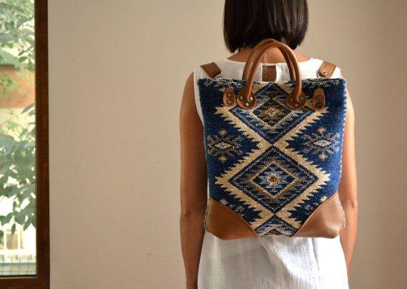 Convertible Backpack Tote, Tribal Leather Kilim Tote Bag/BackPack, Versatile Backpack, Messenger Crossbody Bag, Fall Winter Christmas Gift