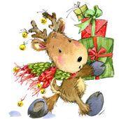 Смешные оленей Санта-Клауса. Акварельные иллюстрации для новый год и рождественские украшения — стоковое фото