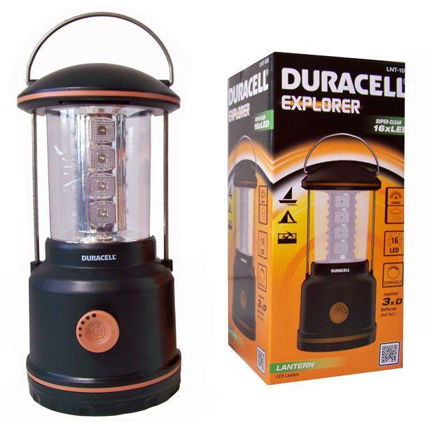 DURACELL CAMPING LANTAARN ( 16 LED'S)  Een camping lantaarn van Duracell.  16 super heldere LED's. Geschikt voor natte omstandigheden. Lichtopbrengst: 80 lumen. Met lichtdimmer. Hoogte: 24cm.  Diameter: 11cm.  Exclusief 3x D batterijen.