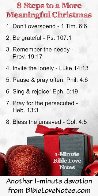 Adding any of these 8 steps to your Christmas celebration will add meaning and life to it! Read more by clicking the link and be sure to read the Scriptures linked in this devotion too.