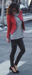 #winter #fashion / knit + red