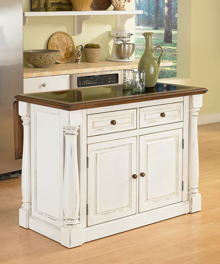 Another great find on zulily! Antiqued White Monarch Expandable Kitchen Island by Home Styles