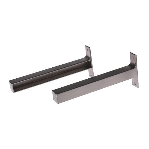 EKBY BJÄRNUM Bracket, aluminum aluminum 7 ½ -spray these brass colored and hang with reclaimed wood for floating shelves between the two windows in the kitchen. LOVE