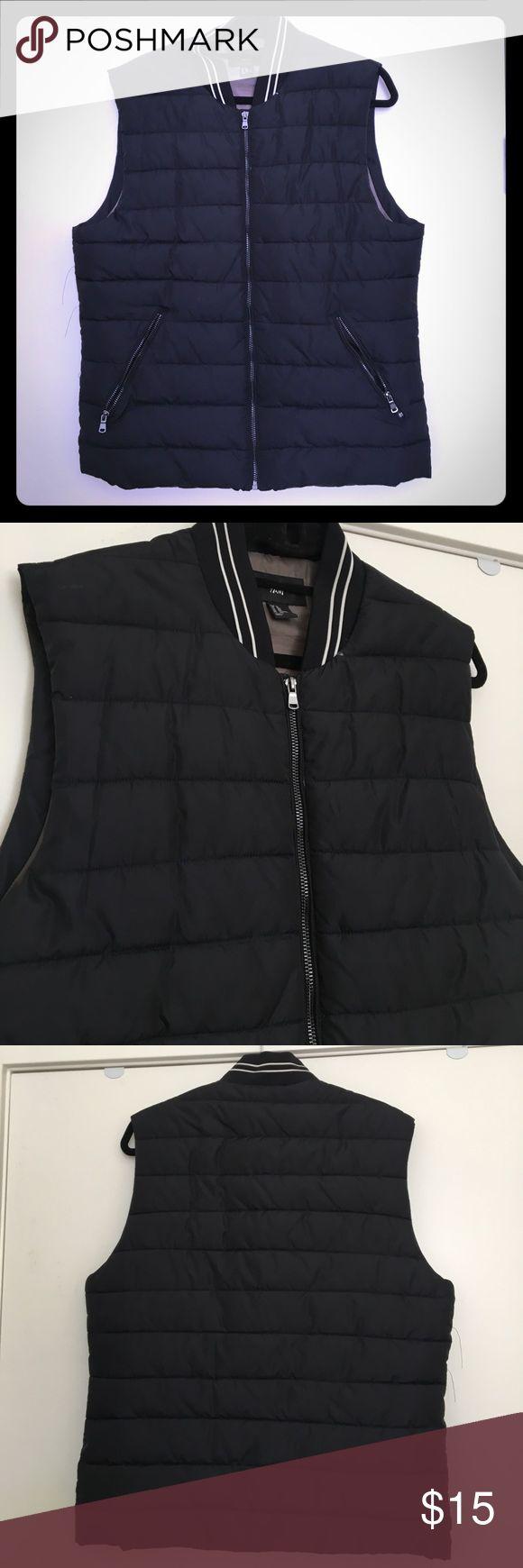 H&M Men's Puffer Vest Black puffer vest. Lightweight. Worn once. Still in brand new condition. Black with white trim on collar. H&M Suits & Blazers Vests