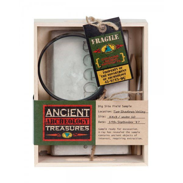 Sample ready for excavation. X-ray has revealed the sample contains ancient objects of interest, requiring extraction. This Seedling kit contains a pumice stone  block with treasures buried inside. Use your tools to carefully discover the objects from the past. Recommended for Ages 6+ years