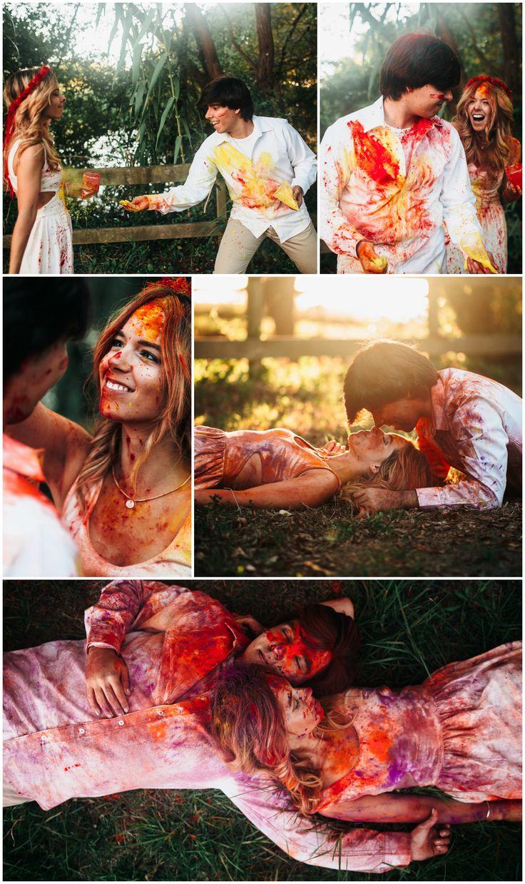 Pretty Little Stories : Color Explosion! paint, photoshoot, romantic, two, photography, holi, powder, colour, color, red, powder, shoot, photo,