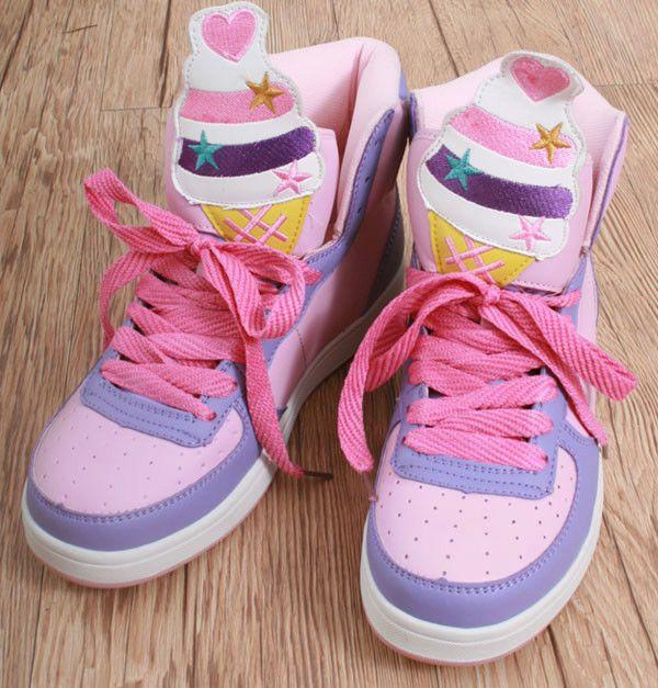 Cutie Kawaii Decora Pastel Candy Multi-Color Hi Top Sneaker Ice Cream Cone Boot #Unbranded #FashionAnkle