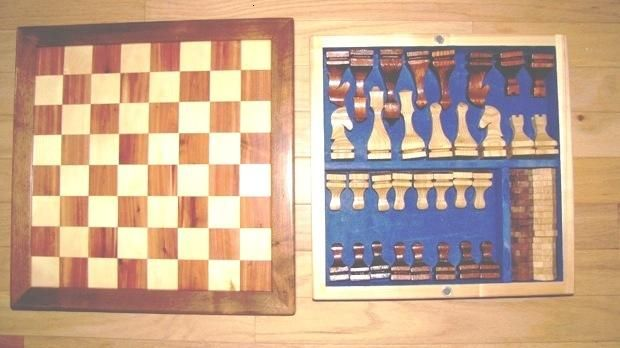 4-H project on a chess/checker board (with instruction to make checker and chess pieces [without a lathe])