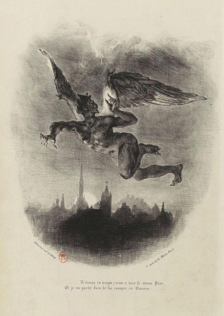 DELACROIX, Eugène (1798-1863). Mefistófeles volando sobre Wittenberg, 1828. Litografía perteneciente al Fausto de Goethe editado en París por C. Motte. Fuente: Gallica