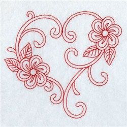 Redwork Floral Heart embroidery design