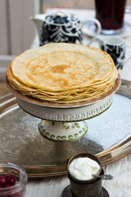"""Russian Crepes """"Blini"""" - I think we will name our Siberian (who was born in Moscow) Blini."""