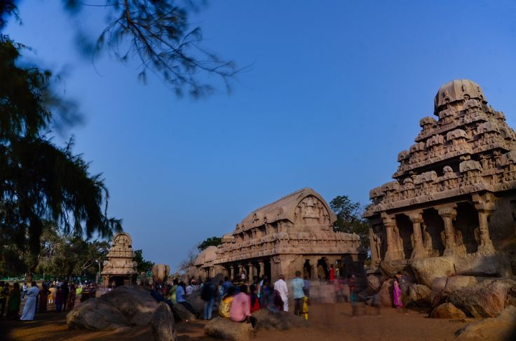 Five Rathas Mahabalipuram - Pancha Rathas is a monument complex at Mahabalipuram, on the Coromandel Coast of the Bay of Bengal, in the Kancheepuram district of the state of Tamil Nadu, India. Pancha Rathas is an example of monolithic Indian rock-cut architecture