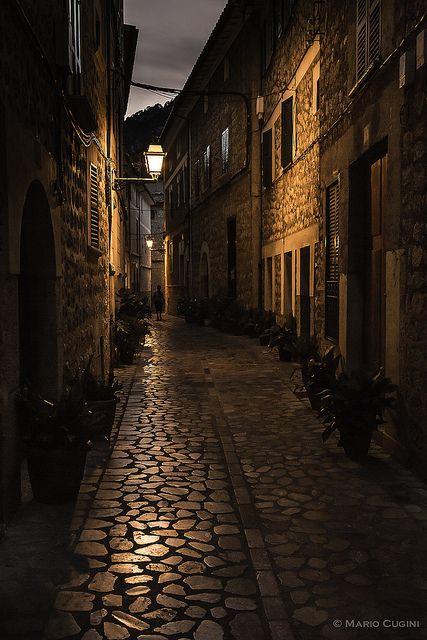 Beautiful alley, Soller in Majorca, Spain